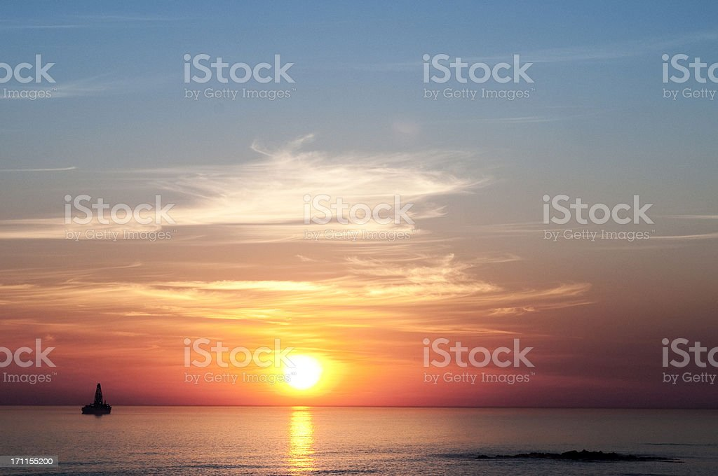 Offshore oil rigs stock photo