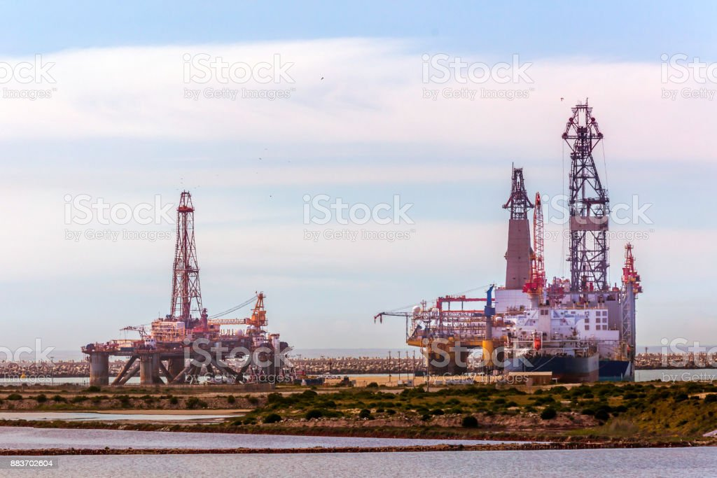 Offshore oil rigs seen at the docks in Port Elizabeth stock photo