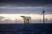 Wind-turbine, offshore, worker, boat, sea, sun, vessel, platform