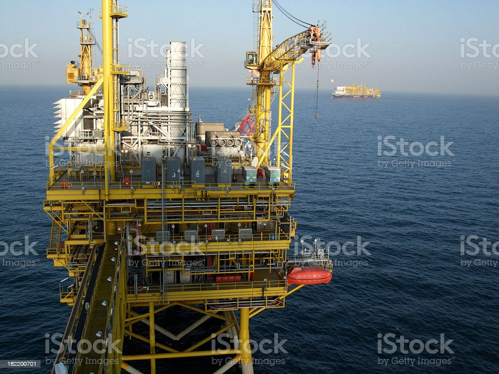 Offshore Production Platform in the evening royalty-free stock photo