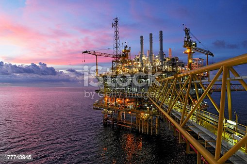 offshore rig in twilight