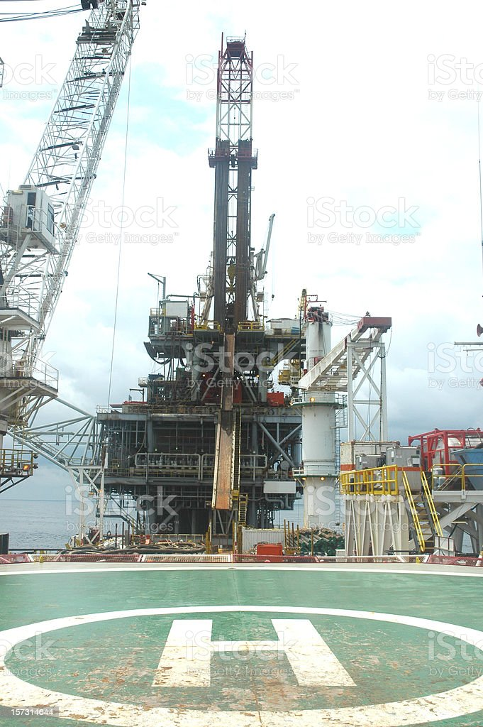Offshore tender assisted drilling rig royalty-free stock photo