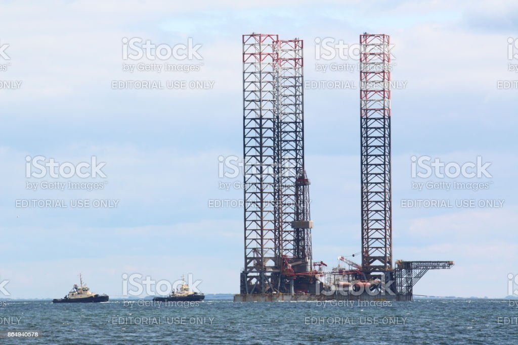 Offshore Vessel Oil platform in the Baltic Sea stock photo