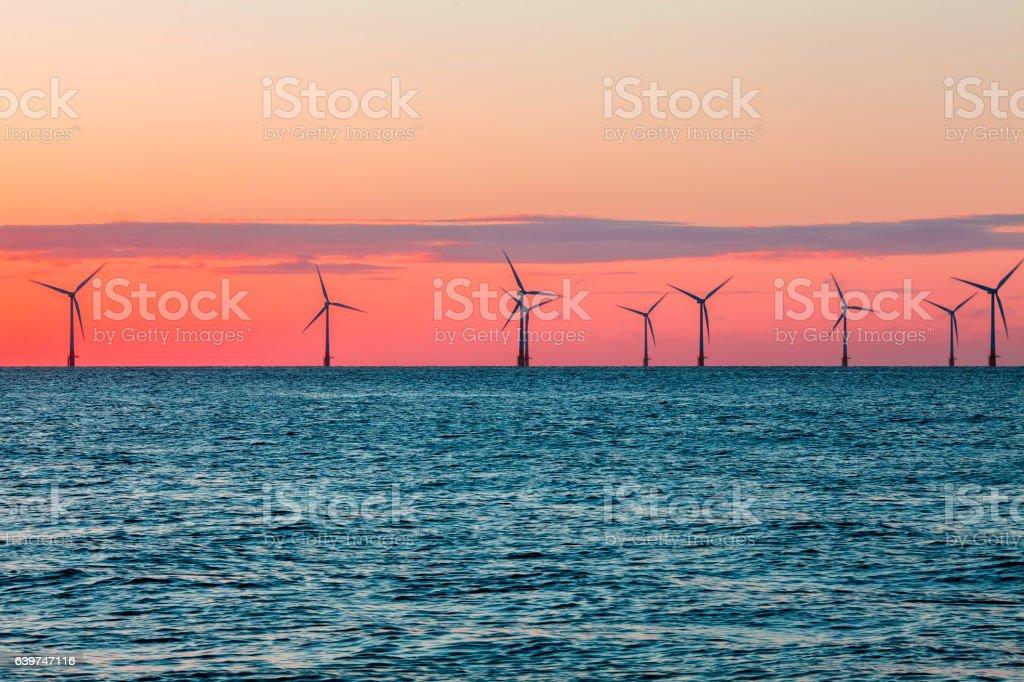 Offshore wind farm at sunrise stock photo
