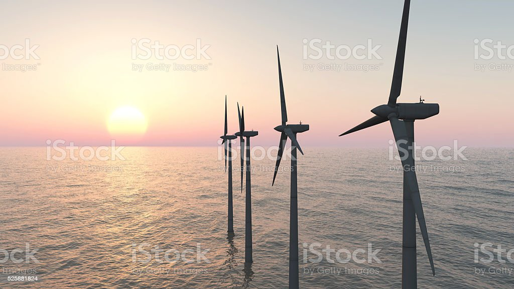 Offshore wind farm at sunset​​​ foto