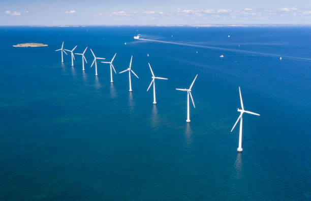 Offshore Wind Farm, Copenhagen, Denmark stock photo