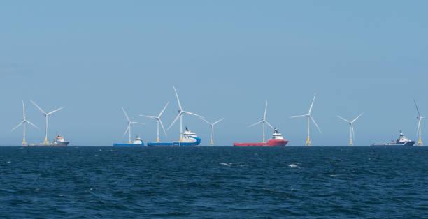 Offshore wind farm near Aberdeen, Scotland stock photo