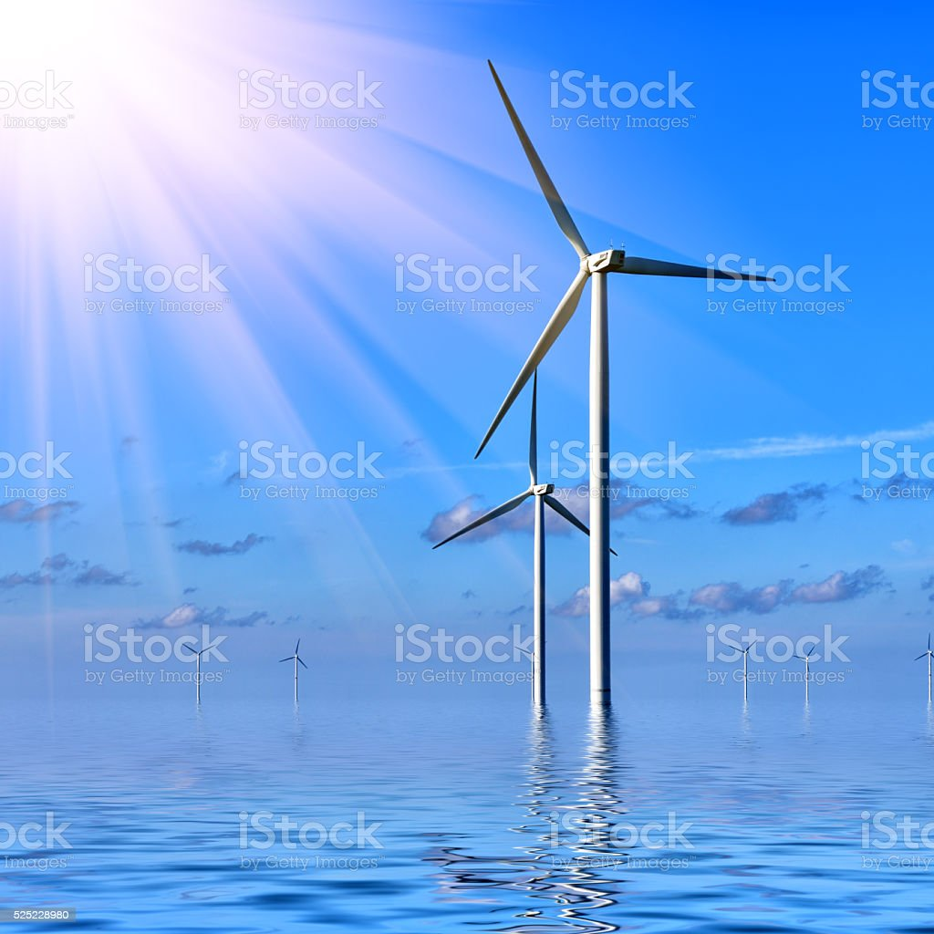 Offshore Wind farm stock photo