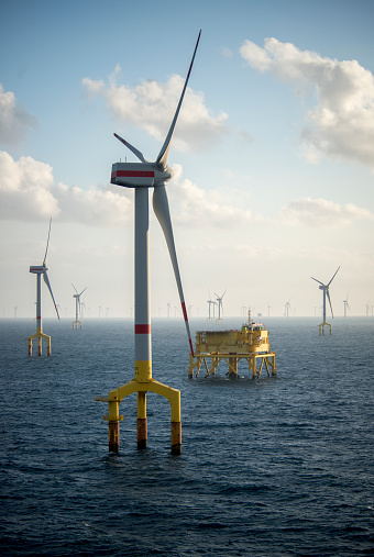 Offshore wind farm turbines at dusk in the middle of the sea