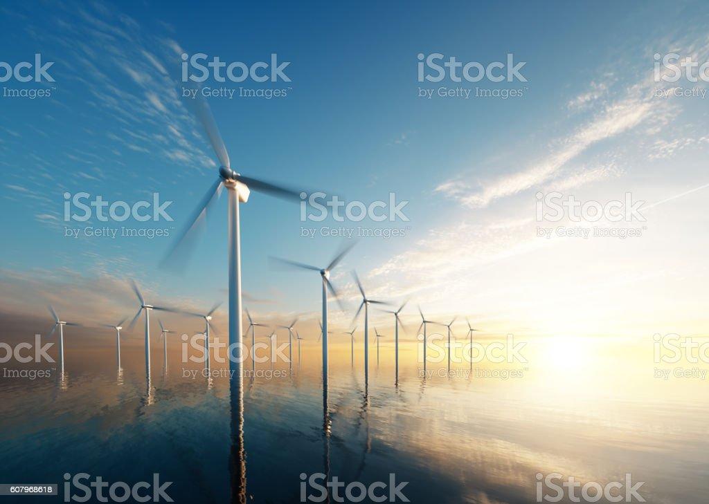 Offshore-Windpark bei Sonnenaufgang – Foto