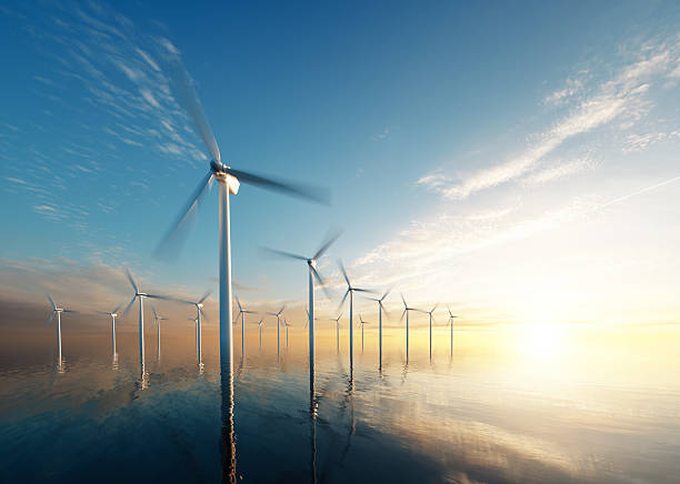 offshore wind park at daybreak - windmolen stockfoto's en -beelden