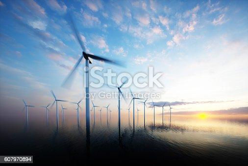 istock Offshore wind park at daybreak 607970894