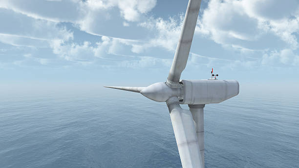 Offshore wind power Computer generated 3D illustration with an offshore wind turbine turbine stock pictures, royalty-free photos & images
