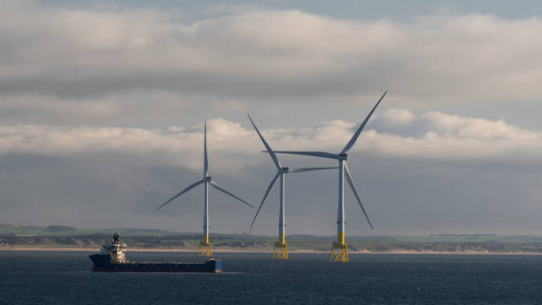 Offshore wind turbines near Aberdeen, Scotland stock photo