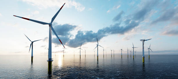Offshore wind turbines stock photo
