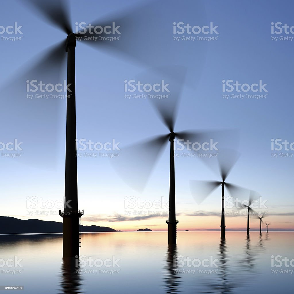 XXXL offshore wind turbines royalty-free stock photo
