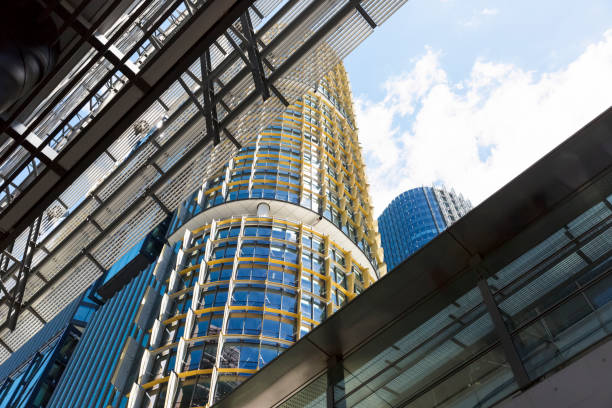 ofice buildings and skyscrapers, barangaroo, low angle view, copy space - barangaroo stock photos and pictures