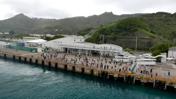Ogasawara Maru Passenger Ship departed Futami Port of Chichi-jima stock photo