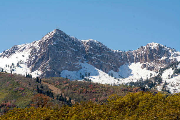 Ogden mountains with snow during the fall stock photo