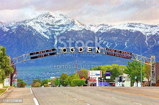 Ogden, Utah, USA - April 28, 2019: Daytime of the Ogden welcome sign looking north on Washington Blvd