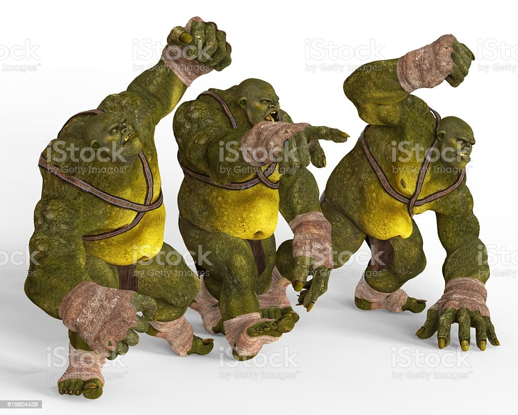 Ogres 3D Illustration stock photo