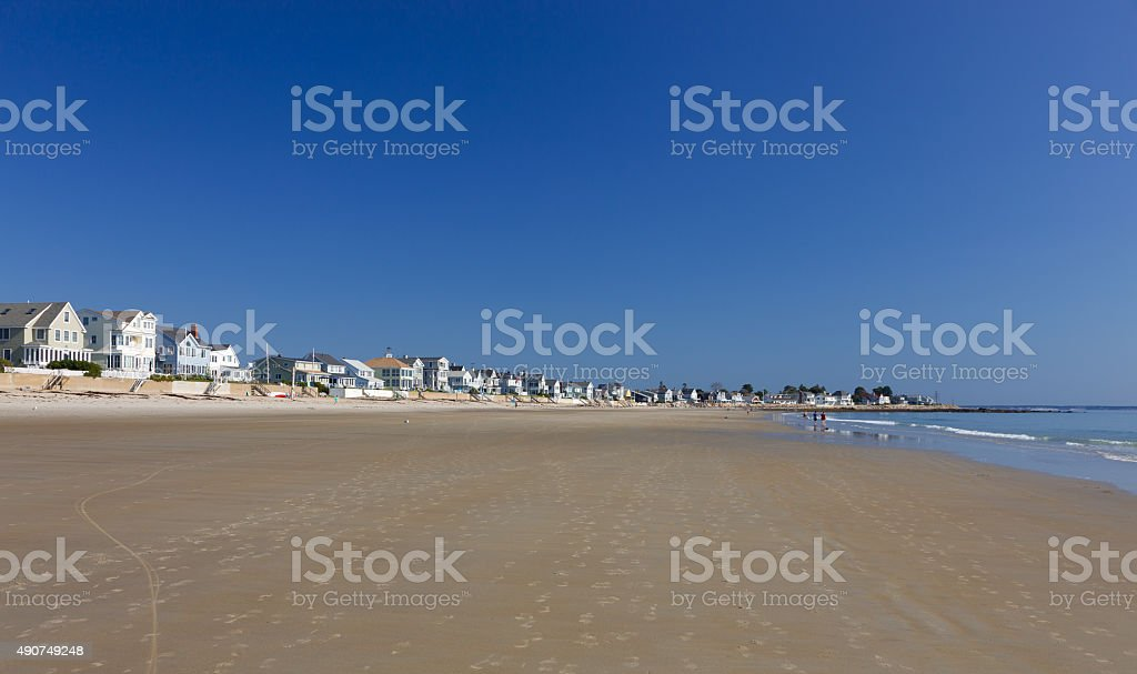 Ogunquit Beach, Footsteps and Luxury Waterfront  Houses, Maine, New England. stock photo