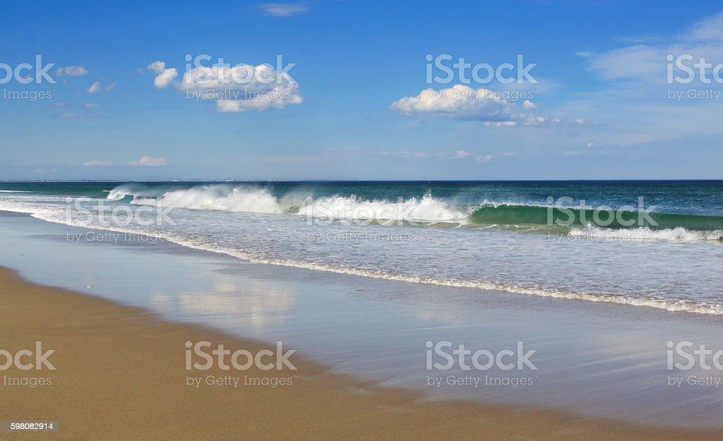 Ogunquit Beach with Waves Breaking on a Seashore, Maine, USA. stock photo