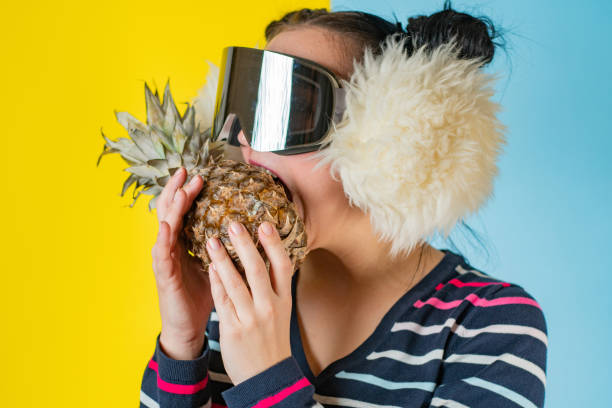 Oh delicious pineapple stock photo