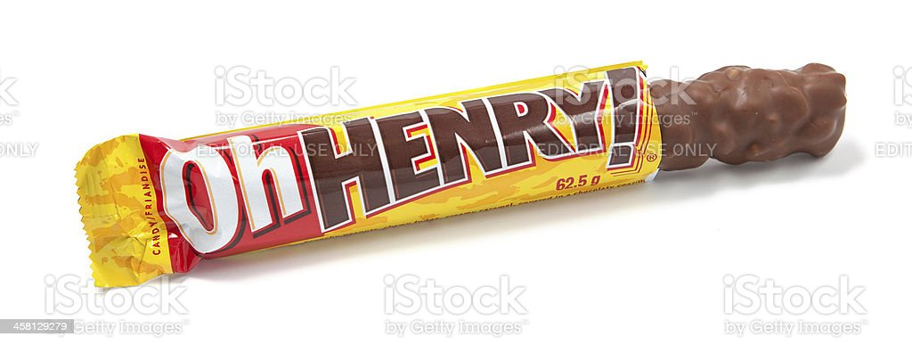 Oh Henry! Chocolate Candy Bar Unwrapped stock photo