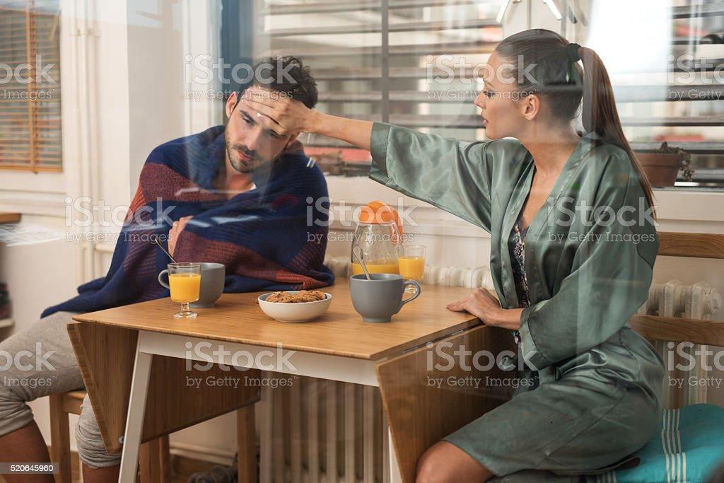 Oh honey, you have a fever! stock photo