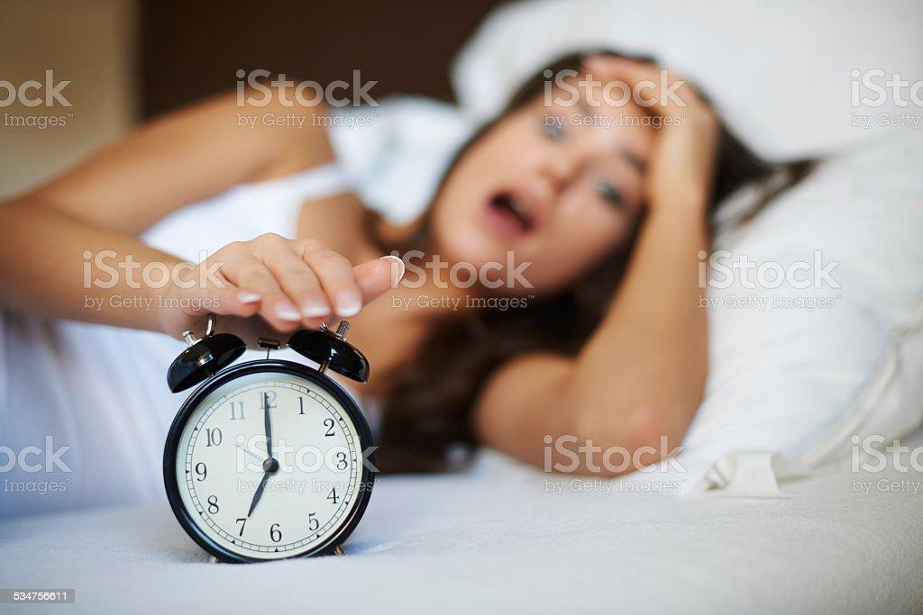 Oh no! I overslept again! stock photo