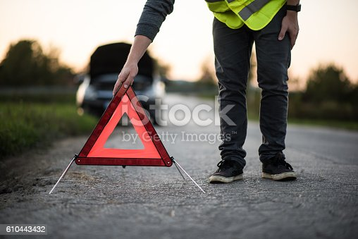 istock Oh no, my car broke down! 610443432