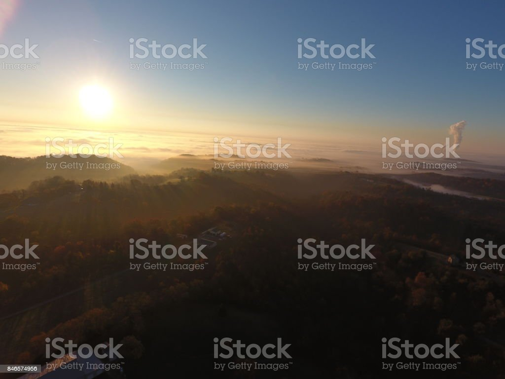 Ohio River Valley: Fog, Sunrise, and Beyond stock photo