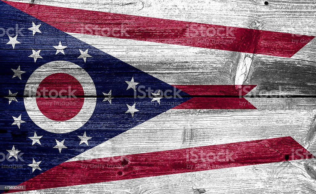 Ohio State Flag painted on old wood plank texture royalty-free stock photo