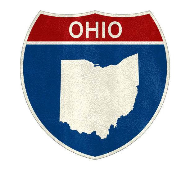 Ohio State Interstate road sign Ohio State Interstate road sign ohio stock pictures, royalty-free photos & images