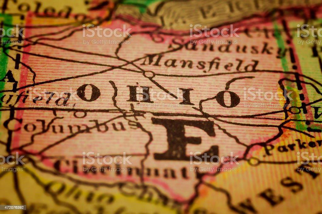 Antique Ohio Map.Ohio State On An Antique Map Stock Photo Istock