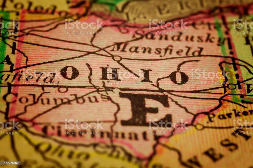 Ohio State on an Antique map stock photo