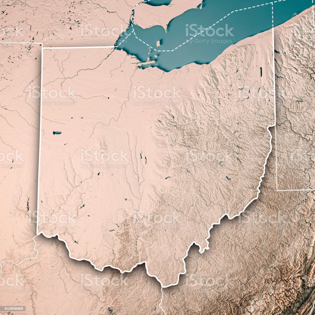 Ohio State Usa 3d Render Topographic Map Neutral Border Stock Photo ...