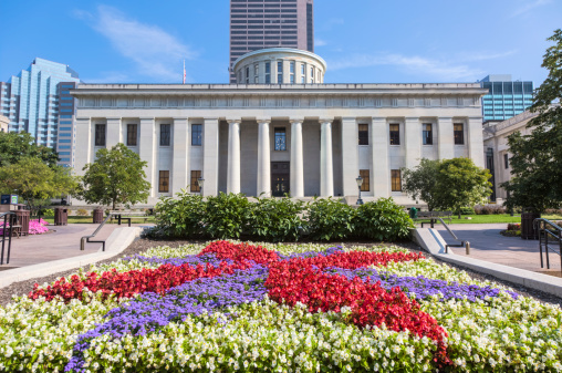Ohio Statehouse with Colorful Flower Garden