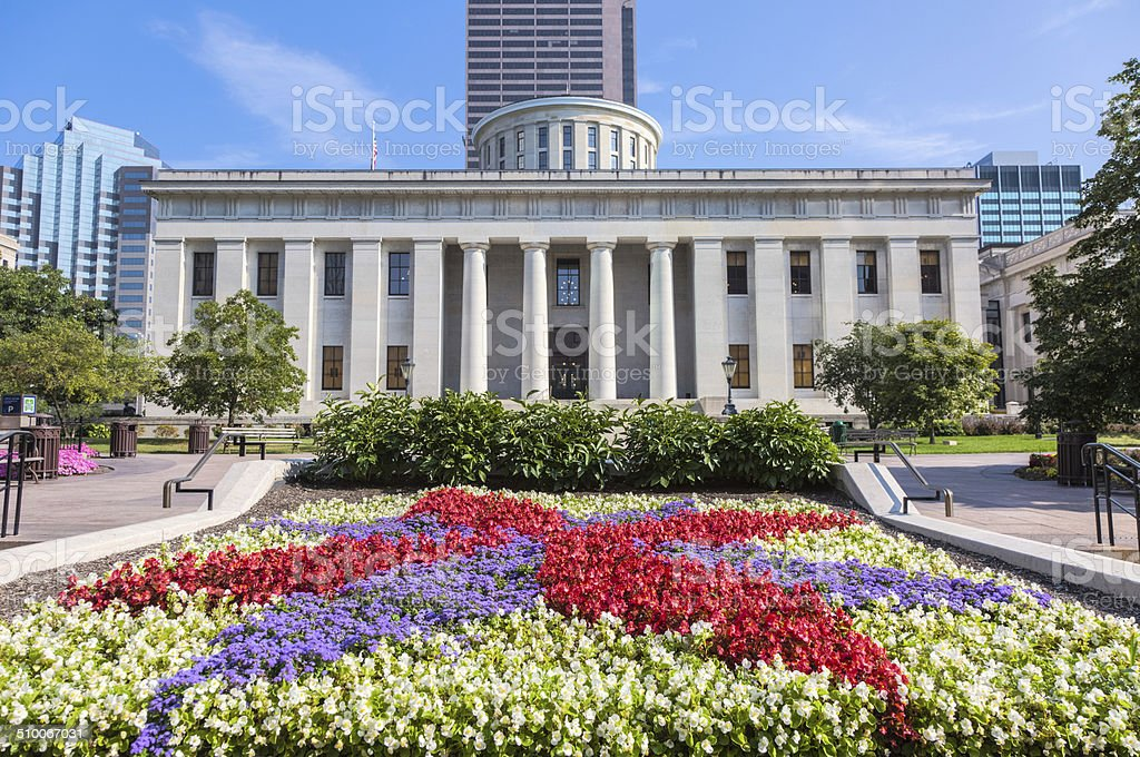 Ohio Statehouse with Colorful Flower Garden stock photo