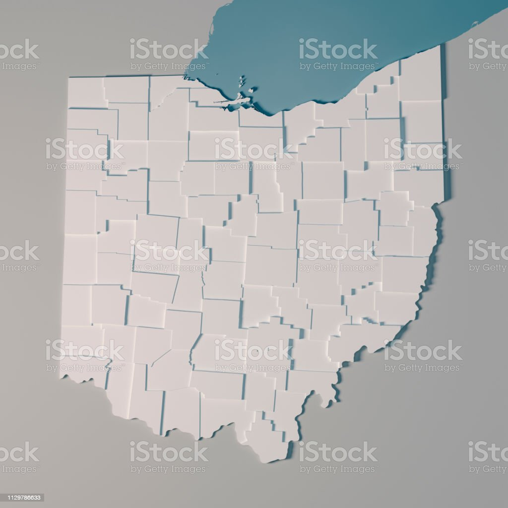 Ohio Us State Map Administrative Divisions Counties 3d Render Stock ...