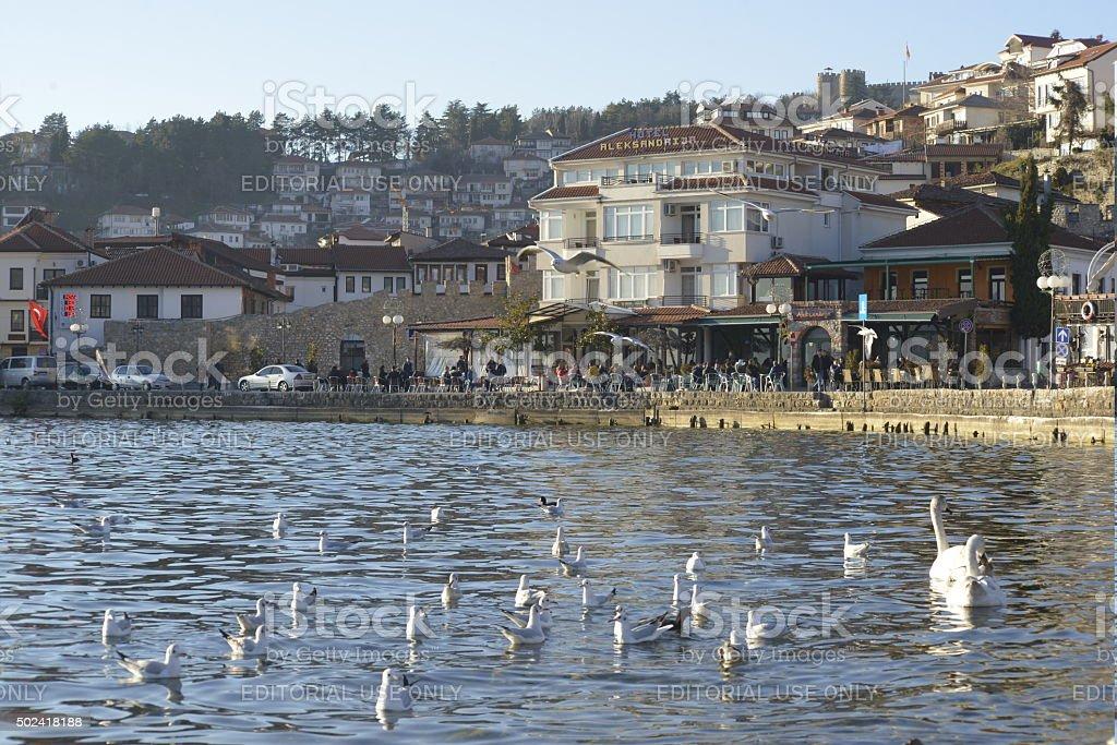 Ohrid and Lake. City  of Unesco stock photo