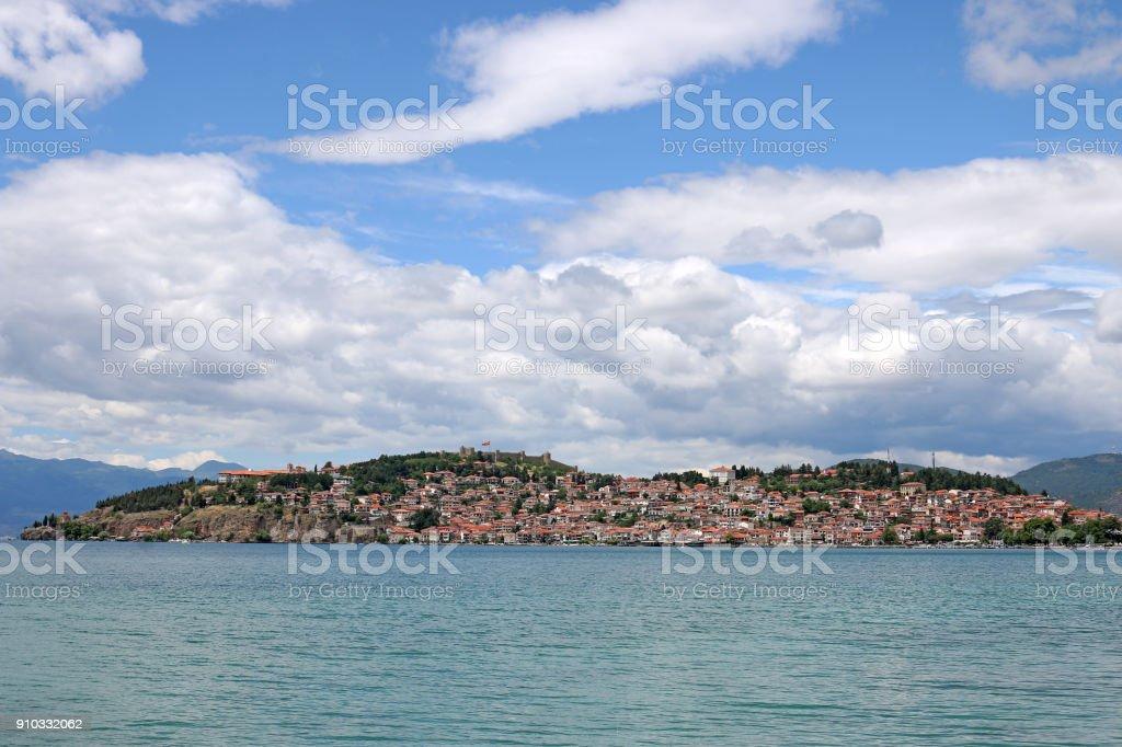 Ohrid city and lake landscape Macedonia summer season stock photo