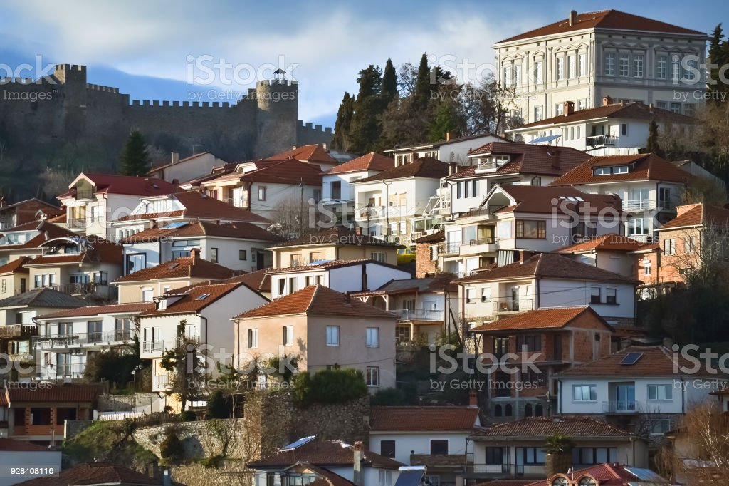 Ohrid city in Macedonia stock photo