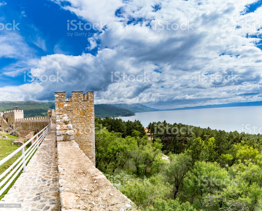Ohrid - Macedonia. View from watchtower of famous old fortress ruins of tzar Samuel in Ohrid know as Samuels fortress with Lake Ohrid in the background. Ohrid - Macedonia stock photo