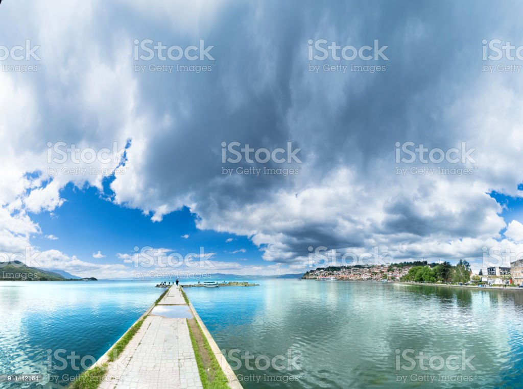 Ohrid with Ohrid Lake, Port and Old City, Macedonia - Panorama, sky copyspace stock photo