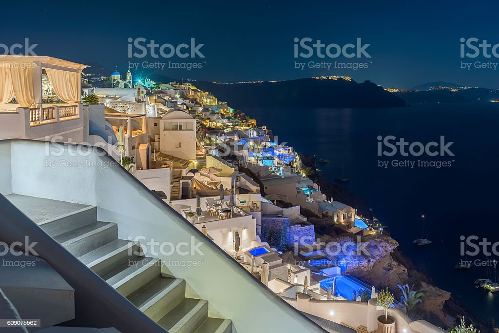 Oia at night , santorini stock photo
