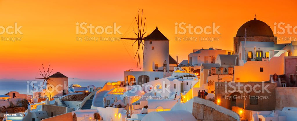 Oia at sunset stock photo