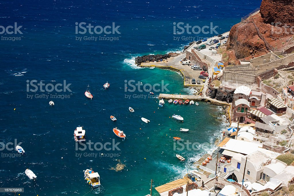 Oia harbour from above royalty-free stock photo