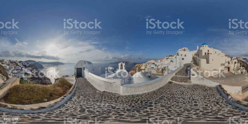 Oia on the island of Santorini in Greece on a sunny day 360 degree view stock photo